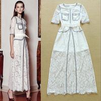 Exquisite lace beading top elegant ladies formal dress full dress one-piece dress