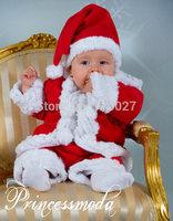 infant boy 3pcs Santa Claus clothing set Red coat beanie pants children suits winter 5pcs/lot Free Shipping baby sets garment