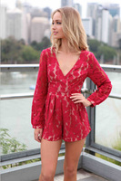 2014 Explosion Models Sexy Red lace Piece Pants Suit Fashion v-neck Skirt Nightclub