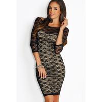2014 Euramerican Fashion Black Lace Dress Free Size Half Sleeve Slim Fit Package Hip Women Dress Sexy Backless Sheath Midi Dress