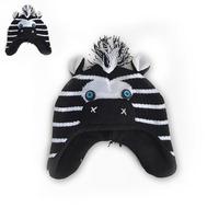 HOT! Brand New Boys Girls Cute Mane Zebra Knitted Beanies Kids Winter Warm Ear Protective Cartoon Skullies Stripe Hats Y-1328