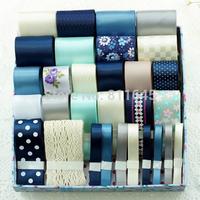 Free Shipping 30 yards Polka Dots Grosgrain Ribbon Set Polyester Ribbon package Garment Hair Accessory handmade ribbons set