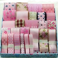 Pink 28 yards Polka Dots Grosgrain Ribbon Set Polyester Ribbon package Garment Hair Accessory handmade ribbons set