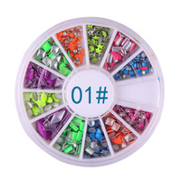 2014 Fashion Nail art jewelry Candy-colored fluorescent rivet metal nest color nail drill nail rivets 6-color mixed Pack