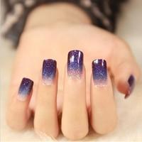 2014 New tip stiletto glitter gradient nail sticker nail art stickers 12 nail stickers nail stickers