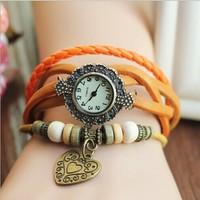 New Relogios Femininos Leather Knit Women Vintage Quartz Watches, Casual Bracelet Wristwatches Hart Pendant,Valentine's Day Gift