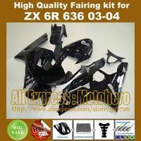 Injection mold black fairings for KAWASAKI NINJA ZX6R 636 03-04 ZX-6R 2003-2004 6R 03 04 ZX 6R 2003 2004 fairing kit FREE CUSTOM