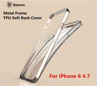 "Original Baseus Fusion Series Aluminum Case For iPhone 6 4.7,Metal Frame+TPU Soft Back Cover Case For iPhone 6 4.7"" + Free Film"