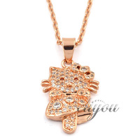 Fashion Jewelry Women Girls Dancing Hello Kitty Cat w CZ 18K Rose Gold Filled Pendant Necklace Optional Chain Free Shipping P40R
