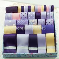 Purple ribbon set 36YDS Diy hair accessory kit hand made child hair clips material kit set bundle printed ribbons Bow handmade
