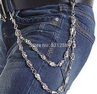 Punk Metal Skulls Pattern Men New Hip Hop Waist Chain Street Dancing Metal Belt Chain Pants Chain FS3209