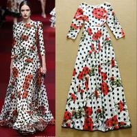 Fashion elegant 2015 ruslana korshunova vintage polka dot print elegant full dress one-piece dress
