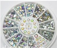 2014 Fashion stiletto nail tips Nail art wholesale diamond 1.5mm,2mm,2.5mm,3mm 12 rotary nail decorations
