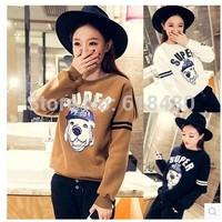 New 2014 Korean Style Fashion Women Autumn Winter Long Sleeve Cartoon Dog O Neck Thick 3 ColorsT-shirt Girl Casual Tees Sweater