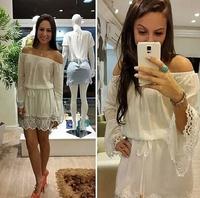 2015  women  new Slash Neck Lace Dress    1012