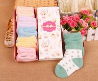 5PCS/box Winter Newborn Baby Cotton Socks Terry Socks Colors Round Dot Non-Slip Home Floor Socks Christmas Socks