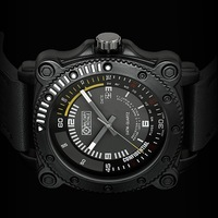 Military Royale Men's Black Analog Dial Army Time Auto Date Display Leather Monitor Theme Watch MR092