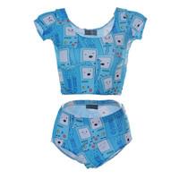 Digital Printed Swimwear Tankini Swimsuits Women Crop Top + Bottom Adventure Time BMO Sexy Roupa Dde Banho Hot S125-183