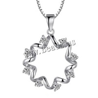 Free shipping!!!925 Sterling Silver Pendant,Jewelry For Women, Flower, platinum plated, with cubic zirconia, 18x25mm