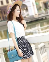 Chiffon High Waist Short Skater Pleated Skirt can wear at all seasons Free shipping Fashion Women Skirts  88470