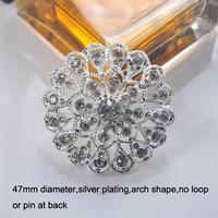 (M0502) 47mm metal rhinestone embellishment ( all crystals ), silver plating,arch shape