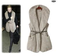 New Fashion Womens Ladies Hoodie Faux Lamb Fur Long Vest Jacket Coat With Hat 2014112807