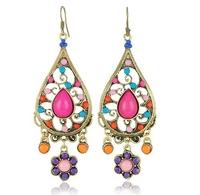 Free shipping Wholesale Bohemian Handmade Colorful Dangle Earrings 2014 New Vintage Jewelry AE040