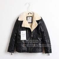 Winter boy child turn-down collar plaid plus velvet leather clothing children leather coat 120301