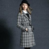 women new  winter coat OL fashion plaid slim fits British vintage style autumn long design outerwear outer coat overcoat