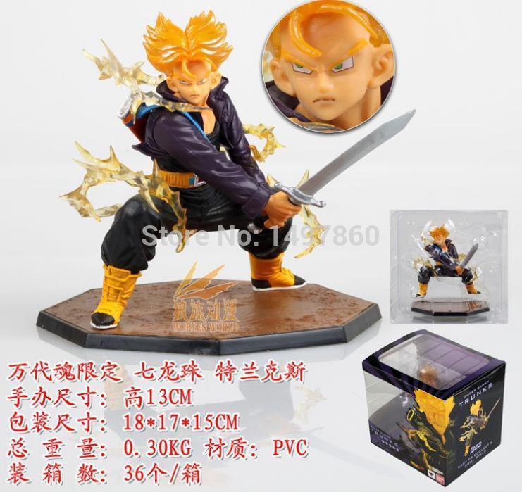 Anime Dragon ball Z super Saiyan Trunks fighting version action Figures Doll Model 13cm High(China (Mainland))