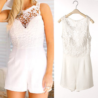 2014 New Fashion Summer Jumpsuits Women's Sexy Lace Hollow Out Jumpsuit Sleeveless Hot Pants Lady's Shorts Playsuit Rompers