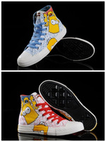 2014 The Simpsons New logo star canvas shoes for unisex men and women casual sneakers shoes all size