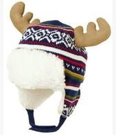 HOT! High Quality Boys Girls Cute Reindeer Ear Knitted Cotton Beanies Kids Winter Warm Skullies Christmas Hats Y-1330