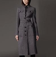 Wholesale 2014 Women New Winter Long Section of European and American Big Slim Wool Coat Woolen Coat Factory Dropshipping