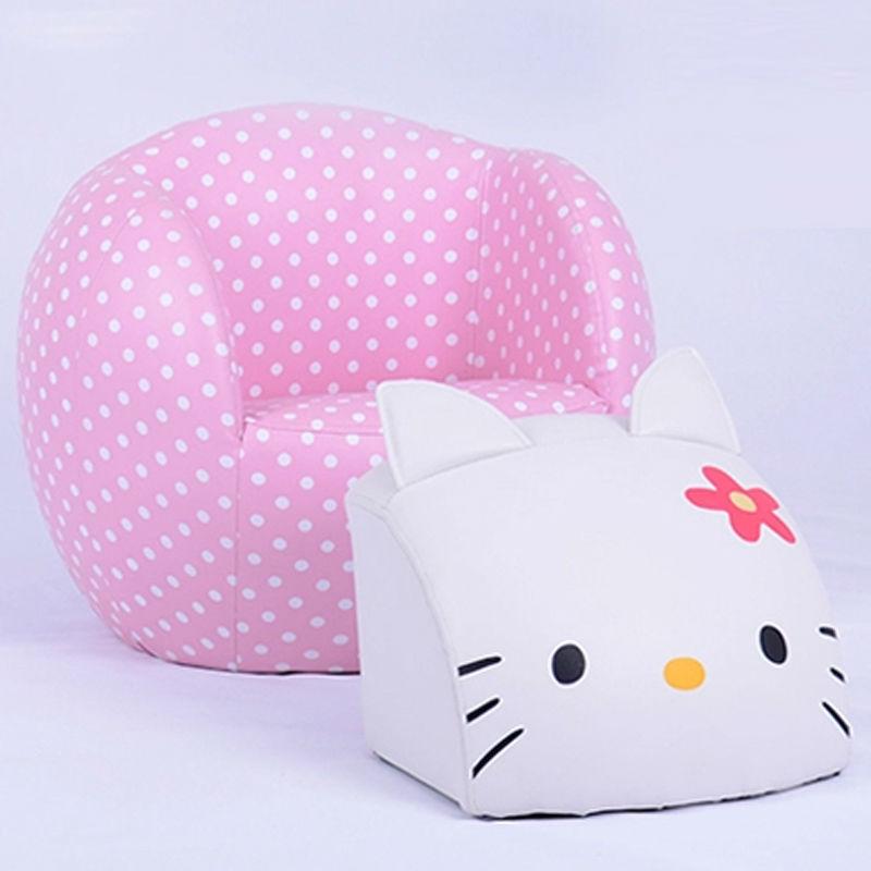 Round hello kitty chair set kids sofa with ottoman children sofa footstool baby furniture(China (Mainland))