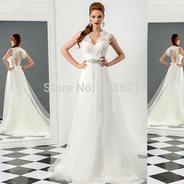 2015 New Arrival White Lace Wedding Dress V-Neck Sleeveless Court Train Tulle Wedding Gown Backless Bridal Dress Custom RC-536(China (Mainland))