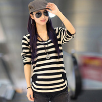 Spring and Autumn new Korean version of the hedging round neck long-sleeved striped wild bottoming loose knit sweater coat120104