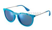 Hot Best Quality fashion retro brand name 4171 / 6079/55  erika velvet sunglasses  sky bluemirror 54mm glasses free shipping