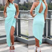 2014 Diramon Women's Off-the-shoulder Sleeveless Dress Sexy Turtleneck Asymmetrical Long Dress Fashion Mint Hemline Maxi Dress
