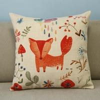 "Lovely Beige Cartoon Animal Fox Rain Cotton Blend Linen Pillow Case Decor Cushion Cover Square 18"""