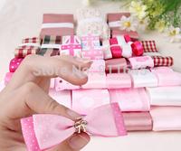Pink ribbon material set 35YDS mix grosgrain/satin ribbon set craft handmade diy ribbon for hair accessory material Gift giving