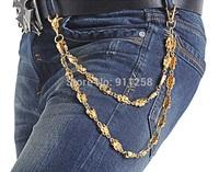 Hot Sales Men Unique Golden Metal Pants Chain All-match Punk Hip Hop Pants Chain Waist Chain Belt Chain FS3201