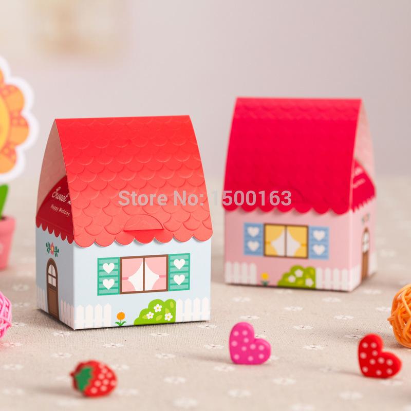 Hotsale 30 pçs/lote doce simulação Red telhado da caixa de Laser de doces do favor do papel partido do chuveiro caixa de suprimentos de casamento presente Z148(China (Mainland))