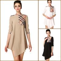 New 2014 Spring And Summer Plaid Dress Palace Grid Dresses For women Elegant Fashion High Quality Irregular Hem Free Shipping