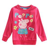 Peppa Pig pig children Pepe 2014 Spring/Autumn new cotton trade girls t shirt F4275 baby dress