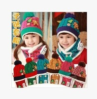 Christmas Gifts 2015 Children's hats wool hat scarf snowman suit baby boys and girls baby warm hat child hedging