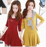 New Arrived Free Shipping Korean Fashion Autumn Winter Dress O-neck Long Sleeve Desigual Casual Women Dress