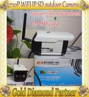 P2P 1.0MP 720p Wireless Wifi IP CCTV outdoor Waterproof Dome Camera Support 32G TF IR Night Vison QR Code H875W  Free shipping