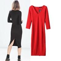 2015 Fashion European Style Women Autumn Spring Inner Dress Deep V-Neck Mid-Calf Empire Back Slit Sheath Famous Brand Side Vent