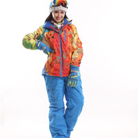 High Quality Fashion Women Ski Suit Sets Windproof Waterproof Winter Ski Jacket+Pants Warm Breathable Wearprooffree  shipping